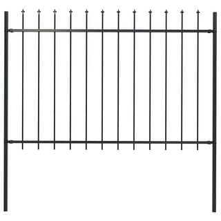 """Link to vidaXL Garden Fence with Spear Top Steel 66.9""""x47.2"""" Black Similar Items in Yard Care"""
