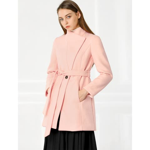 Allegra K Women's Stand Collar Winter Belted Long Coat