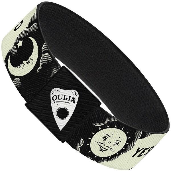 Ouija Board Elements1 White Black Elastic Bracelet