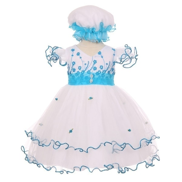 Baby Girls Turquoise Floral Embroidery Jewel Ruffle Bonnet Flower Girl  Dress 3-24M 41eaf1970c1