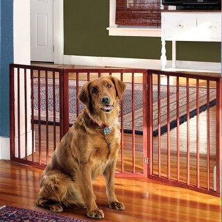 """Pet Child Gate - Free Standing Tri-Fold - 24"""" Tall 52"""" Wide - Brown - 52.88 in. x 25 in."""
