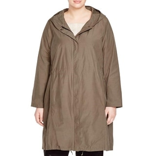 Eileen Fisher Womens Plus Raincoat Weather Resistant Hooded