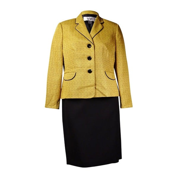Le Suit Women's Monte Carlo Contrast Trim Skirt Suit (16, Gold Leaf/Black) - gold leaf/black - 16