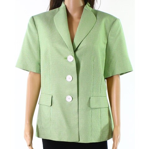 Le Suit Womens Three-Button Tweed Peplum Jacket