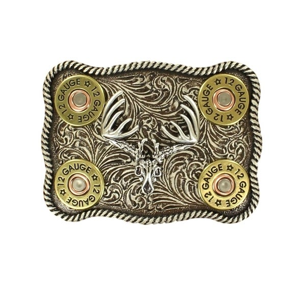 Nocona Western Belt Buckle Mens Shotgun Shell Buck Silver Gold - 3 3/4 x 2 3/4