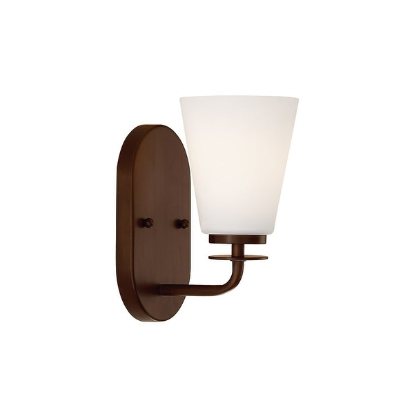 "Millennium Lighting 391 1-Light 9"" Tall Bathroom Sconce with Tapered Etched Glass Shade - n/a"