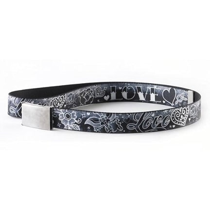 Buckle-Down Web Belt - Love Love Black White