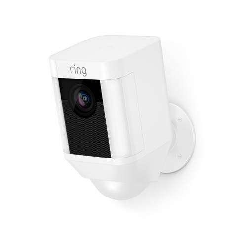 Ring Spotlight Cam Battery HD Security Camera with Built Two-Way Talk and a Siren Alarm (White)