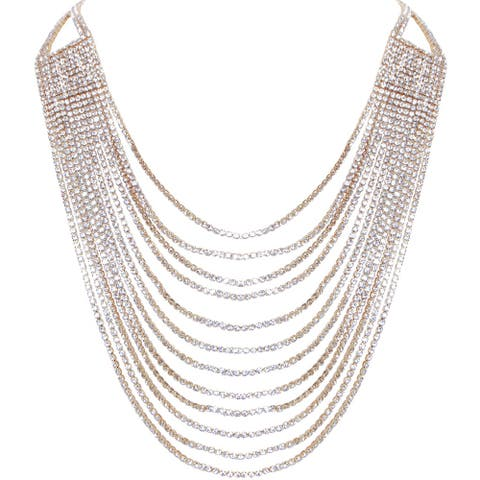 Humble Chic Darling Waterfall Bib Necklace Multi-Strand Chain CZ Simulated Diamond Collar