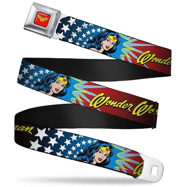 Wonder Woman Logo Full Color Red Wonder Woman Face W Stars Webbing Seatbelt Seatbelt Belt