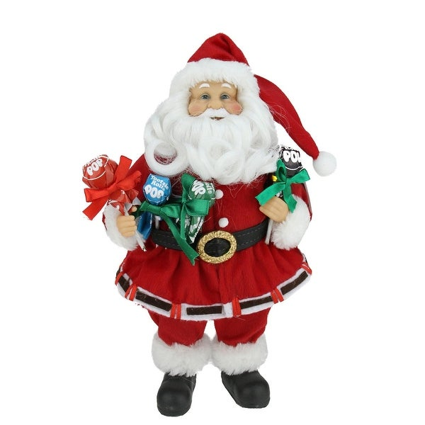 """12"""" Santa Claus Holding Tootsie Pops Christmas Tabletop Decoration - RED"""