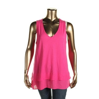 Two by Vince Camuto Womens Casual Top Chiffon Hem Sleeveless