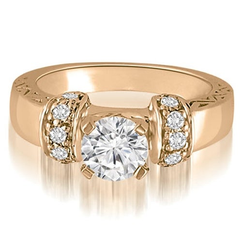 0.75 cttw. 14K Rose Gold Antique Round Cut Diamond Engagement Ring
