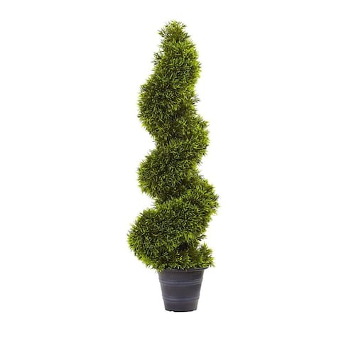 Nearly Natural Home Office Decorative 3' Grass Spiral Topiary with Deco Planter - Not Available