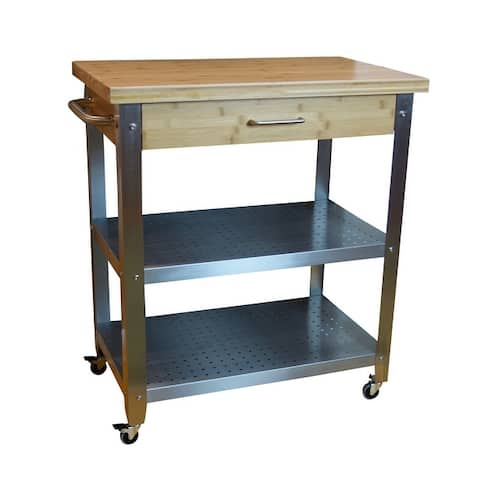 Bamboo & Stainless Steel Rolling Kitchen Cart with Drawer & 2 Shelves