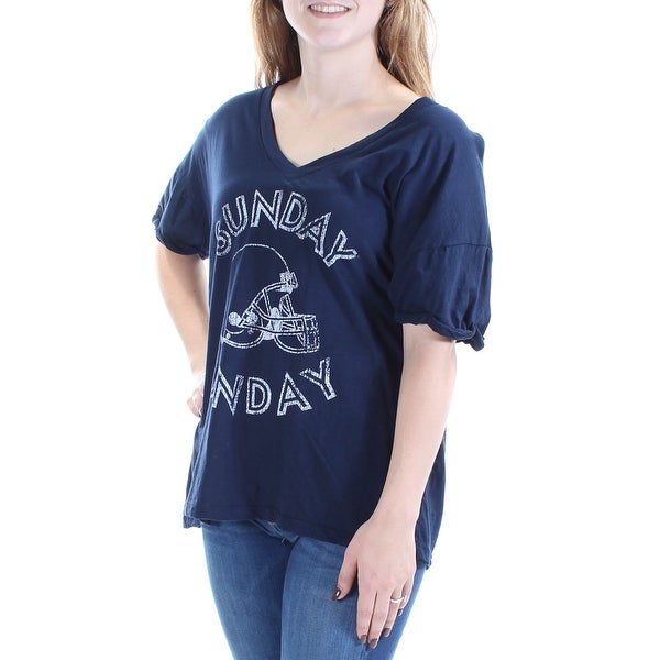 12fadfb70 Shop Womens Navy Sunday Funday Short Sleeve V Neck Casual T-Shirt Top Size  XS - Free Shipping On Orders Over $45 - Overstock - 21265021