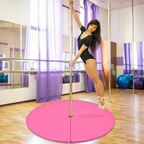 Costway Foldable Pole Dance Mat Yoga Exercise Safety Dancing Cushion Crash Mat 2'' Thick - Pink