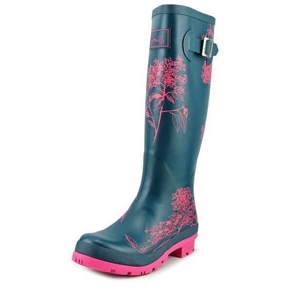 Joules Wellyprint Women Round Toe Synthetic Blue Rain Boot