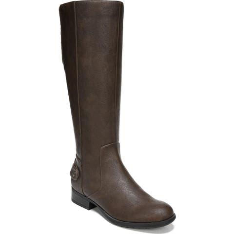 LifeStride Womens Riding Boots Mixed Media Stacked Heel - Dark Tan - 10 Medium (B,M)