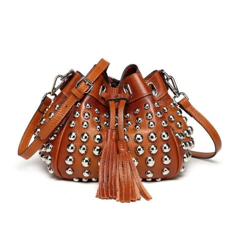Vicenzo Leather Jewel Small Studded Bucket Bag
