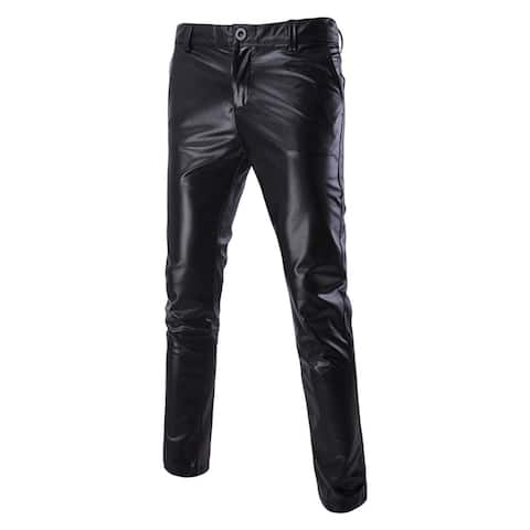 Metallic Moto Flat Front Straight Leg Pant Trousers