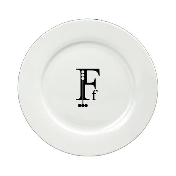 Shop Letter F Initial Monogram Modern Round Ceramic White Salad