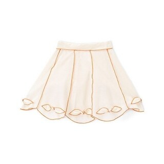 Girls Ivory Orange Contrast Piping Bow Cotton Stylish Skirt