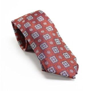 Designer Brand Orange Blue Men's One Size Neck Tie Silk Accessory