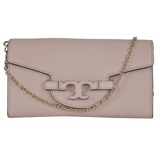 Tory Burch Lena Light Oak Leather Convertible Chain Handbag Clutch