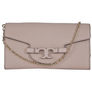 New Tory Burch Lena Light Oak Leather Convertible Chain Handbag Clutch