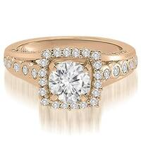 1.15 cttw. 14K Rose Gold Halo Round Cut Diamond Engagement Ring
