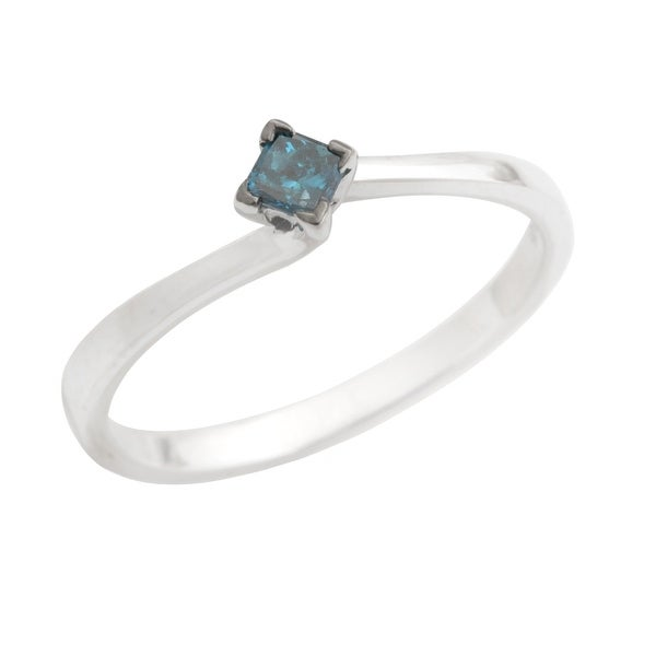 Brand New 0.15Ct Princess Cut Blue Color Diamond Engagement Ring