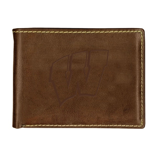 University of Wisconsin Contrast Stitch Bifold Leather Wallet