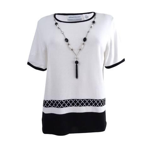 Alfred Dunner Women's Petite Medallion-Border Necklace Sweater (PS, White/Black) - White/Black - PS