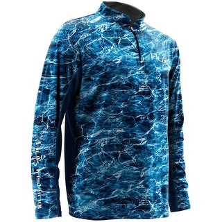 Huk Men's Element Icon Bluefin Large 1/4 Zip Long Sleeve Shirt