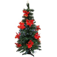3' Pre-Lit Fiber Optic Artificial Christmas Tree with Red Poinsettias - Multi