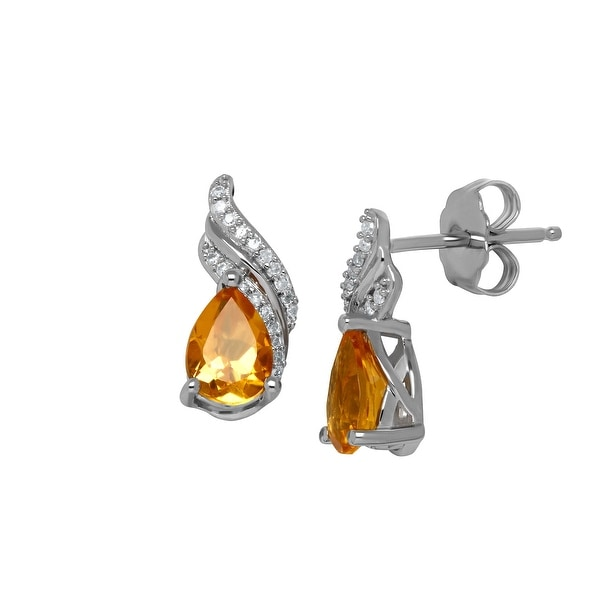 1 1/5 ct Natural Citrine Earrings with Diamonds in Sterling Silver