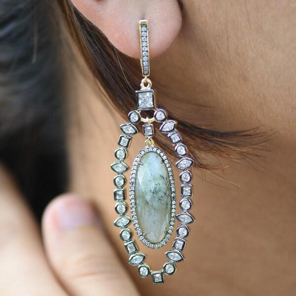Labradorite Gemstone Earrings Custom Simulated Diamonds Sterling 925 Silver