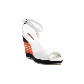 Prada Women's Patent Leather Rubber Wedge Black Orange Shoes
