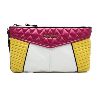 MIU MIU Women's Nappa Quilted Leather Clutch Handbag Azalea Fuchsia Yellow - S