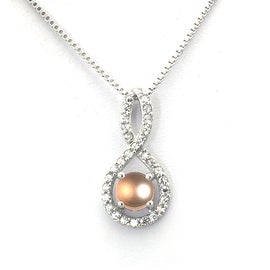 Sterling Silver Figure 8 Center Pearl Pendant - 18 inches