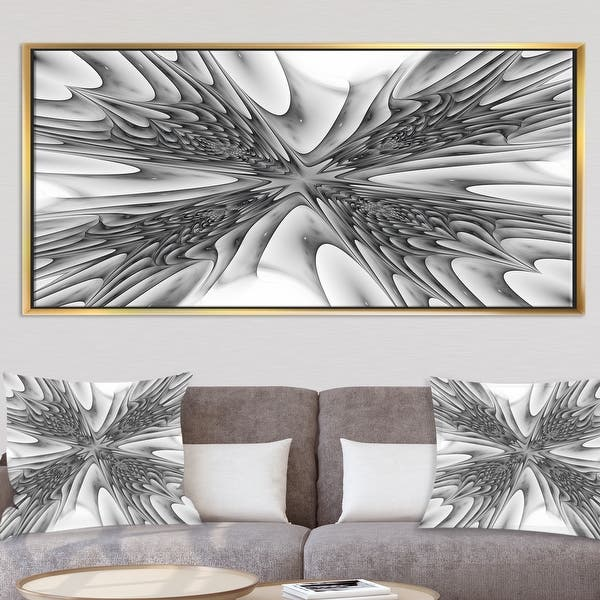 Framed Abstract Fractal Black Red White Wall Art Picture Print On Canvas Decor