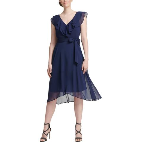 DKNY Womens Midi Dress Ruffled V-Neck - Navy
