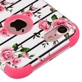 Insten Pink/ White Fresh Roses Tuff Hard PC/ Silicone Dual Layer Hybrid Rubberized Matte Case Cover For Apple iPhone 7 - Thumbnail 2
