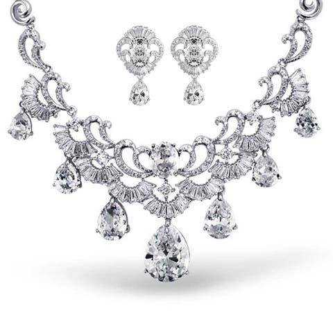 Vintage Style Multi Teardrop Cubic Zirconia CZ Collar Statement Necklace Earring Set For Women Bride Silver Plate Brass
