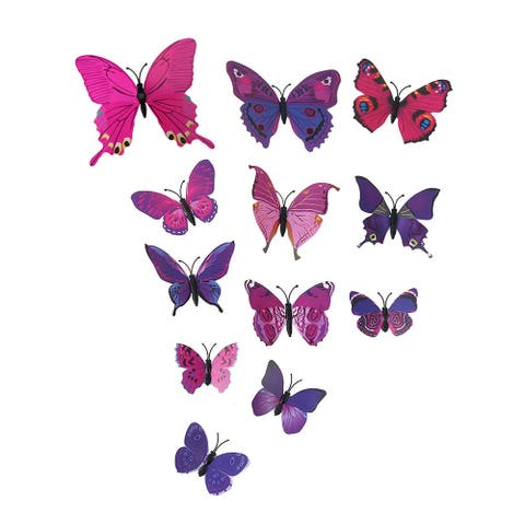 3D Butterfly Wall Sticker Decal Sticker for Home Room Decoration Purple
