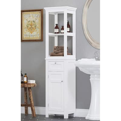 Spirich Home Bathroom Freestanding Storage Cabinet with Two Tier Open Shelves, Tall Slim Tower with Door and Drawer(White)