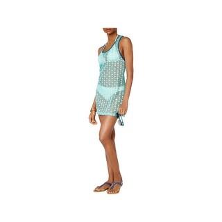 Miken Womens Mesh Contrast Trim Dress Swim Cover-Up