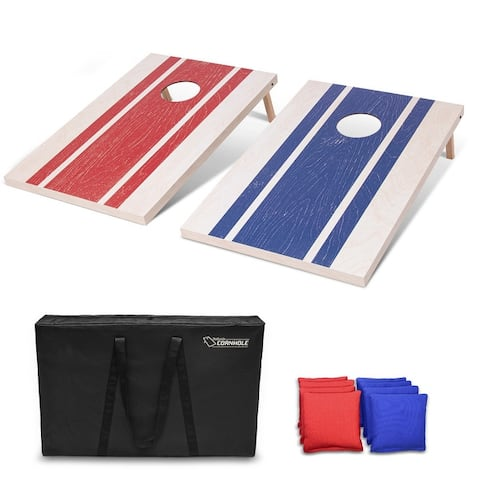 GoSports 3'x2' Wood Design Cornhole Game Set - Includes Two 3'x2' Boards, 8 Bean bags, and Carry Case