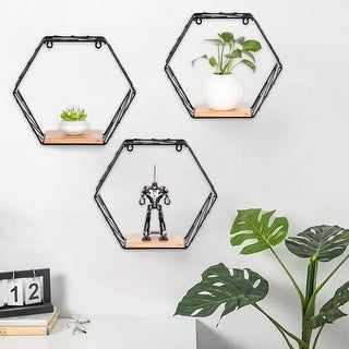 Link to 3Pcs Wall Mounted Shelves Rustic Metal Wire Storage Shelves for Picture Frames, Collectibles, Decorative Items Similar Items in Accent Pieces
